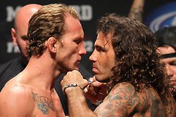 Atlantic City, NJ - June 22, 2012: Gray Maynard ( trunks) and Clay Guida ( trunks) at UFC on FX 4 at Ovation Hall at Revel Resort & Casino in Atlantic City, New Jersey.