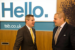 Pictured: Derek Mackay was shown behind the scenes by branch manager Richie Bowman<br /> <br /> Today, Finanace Secretary Derek Mackay opened the newly refurbished TSB branch on Hanover Street in Edinburgh.  Mr Mackay met with staff and customers and toured the facilities. <br /> <br /> Ger Harley | EEm 18 Novcember 2016
