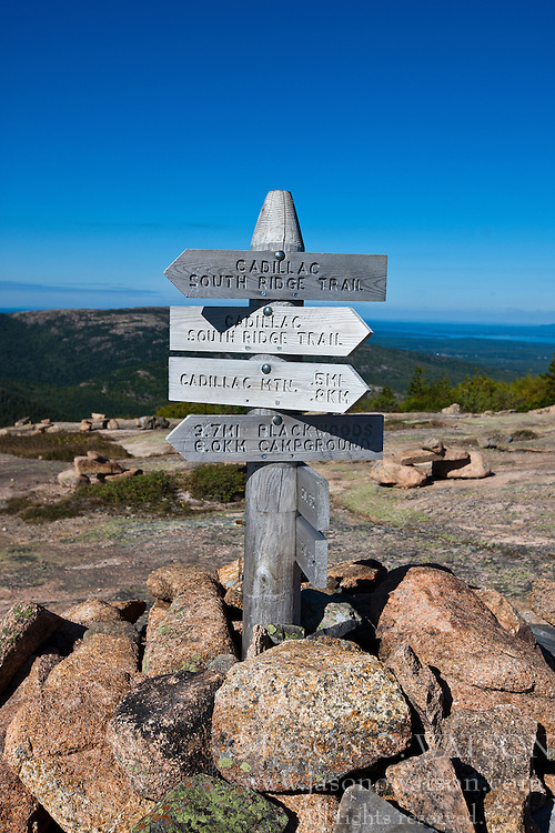 Ridge Trail directional sign to Cadillac Mountain, Acadia National Park, Maine, United States of America