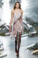 Sanne Vloet (New York Models) walks the runway wearing Rodarte Fall 2015 during Mercedes-Benz Fashion Week in New York on February 17, 2015