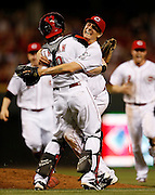 Tuesday, July 2, 2013 REDS SPORTS : Cincinnati Reds starting pitcher Homer Bailey (34) celebrates with catcher Ryan Hanigan after pitching a no hitter winning 3-0 against the San Francisco Giants at Great American Ball Park.  The Enquirer/Jeff Swinger