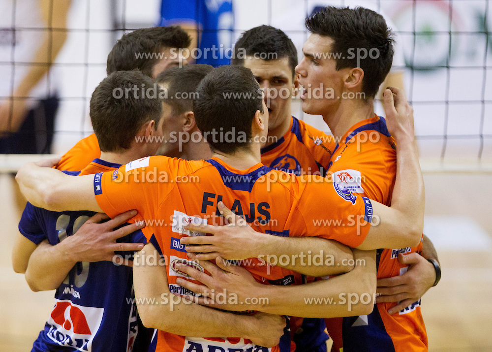 Players of ACH celebrate at volleyball match between ACH Volley and OK Salonit Anhovo in finals of Slovenian Cup, on December 29, 2012 in Sports Arena OS Mozirje, Slovenia. (Photo By Vid Ponikvar / Sportida.com)