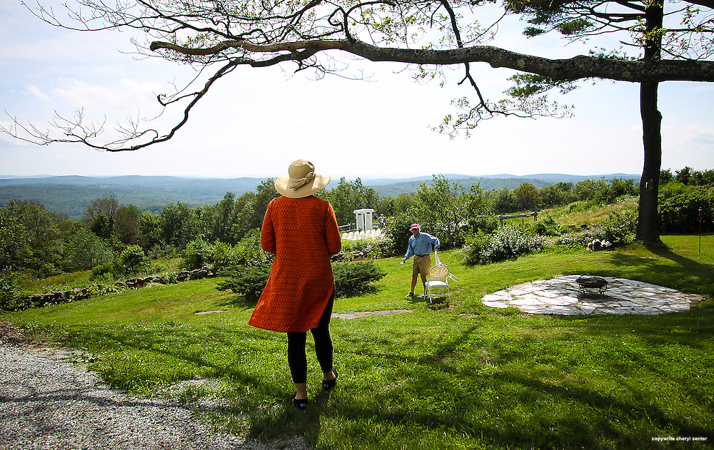 Elizabeth and Wick Sloane of Cambridge, MA, explore the beauty of Cobb Hill Estate prior to novelist and writer Joyce Maynard and Jim Barringer's wedding ceremony  in Harrisville, N.H., Saturday, July 6, 2013.  (Cheryl Senter for the New York Times)