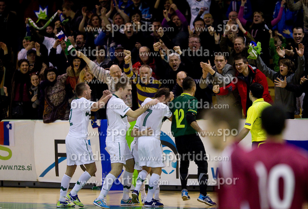 Players of Slovenia celebrate during the futsal match between National Teams of Slovenia and Latvia in Qualifications for European Championships, on February 25, 2011 in Arena Tri Lilije, Lasko, Slovenia. Slovenia defeated Latvia 4-3 and qualified for Euro 2012 in Croatia.  (Photo By Vid Ponikvar / Sportida.com)