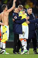 Picture by Paul Chesterton/Focus Images Ltd +44 7904 640267.26/01/2013.Luton Town Manager Paul Buckle celebrates victory with the match winner Scott Rendell (Luton Town) at the end of the The FA Cup 4th Round match at Carrow Road, Norwich.