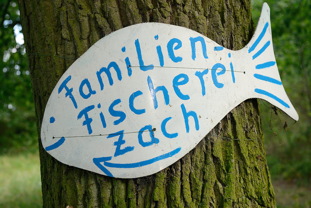 Family fishery sign, Neue Warpe peninsula, Germany, Oder river delta/Odra river rewilding area, Stettiner Haff, on the border between Germany and Poland