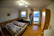 Italy, The Dolomites, San Andreas Agroturismo hostel interior of the room. Model Releases Available