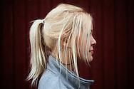 Emma. Lörstand, juli 2012. ..?Man tolkas som lite mjukare som blondin, tror jag. Det är en mild färg. Mörkt hår är så hårt.?...Emma. Lörstrand, Sweden, July 2012...?I think others interpret you as a little more gentle if you're a blonde. It's a mild color. Dark hair is harsh.?..