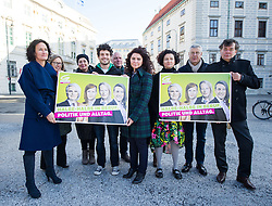 03.03.2015, Ballhausplatz, Wien, AUT, Gruene, Pressekonferenz und Fotoaktion zum Internationalen Frauentag. im Bild v.l.n.r. Gruene Klubobfrau Eva Glawischnig, Nationalratsabgeordnete der Gruenen Gabriela Moser, Nationalratsabgeordneter der Gruenen Julian Schmid, Nationalratsagbeordnete der Grünen Berivan Aslan, Nationalratsabgeordnete der Gruenen Alev Korun, Nationalratsabgeordneter der Gruenen Bruno Rossmann und Stv. Klubobmann und Budgetsprecher der Gruenen Werner Kogler // during press conference of the greens according to international women's day in front of the federal chancellors office in Vienna, Austria on 2015/03/03. EXPA Pictures © 2015, PhotoCredit: EXPA/ Michael Gruber