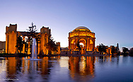 Panoramic of the Palace of Fine Arts at dusk in San Francisco, California, USA