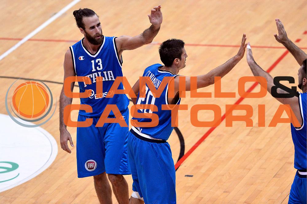 DESCRIZIONE : Trento Nazionale Italia Uomini Trentino Basket Cup Italia Olanda Italy Holland<br /> GIOCATORE : Luigi Datome Andrea Cinciarini<br /> CATEGORIA : Esultanza<br /> SQUADRA : Italia Italy<br /> EVENTO : Trentino Basket Cup<br /> GARA : Italia Olanda Italy Holland<br /> DATA : 11/07/2014<br /> SPORT : Pallacanestro<br /> AUTORE : Agenzia Ciamillo-Castoria/GiulioCiamillo<br /> Galleria : FIP Nazionali 2014<br /> Fotonotizia : Trento Nazionale Italia Uomini Trentino Basket Cup Italia Olanda Italy Holland