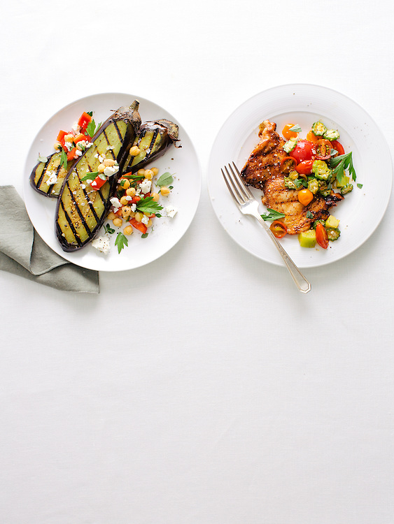 Chipotle Chicken Cutlets with Green Tomato-Okra Sauté; Spiced Eggplant with Chickpea-Feta Salad