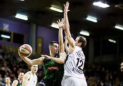 Jan Span of Petrol Olimpija vs Novica Velickovic of Partizan NIS during basketballl match between KK Petrol Olimpija Ljubljana and KK Partizan NIS mts in Round #20 of ABA League 2017/18, on February 10, 2018 in Tivoli sports hall, Ljubljana, Slovenia. Photo by Vid Ponikvar / Sportida