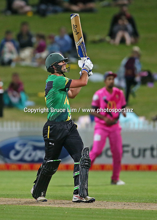Central Stags' Tom Bruce batting during the McDonalds Super Smash T20 cricket match - Knights v Stags played at Seddon Park, Hamilton, New Zealand on Friday 23 December.<br /> <br /> Copyright photo: Bruce Lim / www.photosport.nz