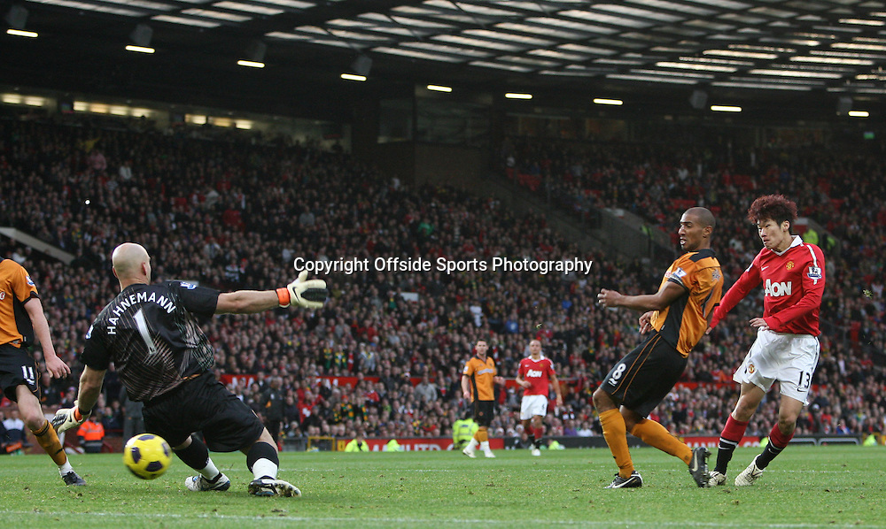 06/11/2010 - Manchester United vs. Wolverhampton Wanderers - Ji-Sung Park of Man Utd scores their 1st goal - Photo: Simon Stacpoole / Offside.