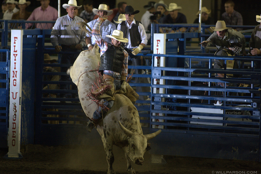 Mike Sparks rides Buck Nasty during the PBR rodeo at the Del Mar Fairgrounds in Del Mar, California on July 26th, 2008.
