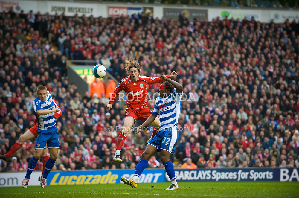 LIVERPOOL, ENGLAND - Saturday, March 15, 2008: Liverpool's Fernando Torres scores the second goal against Reading during the Premiership match against Reading at Anfield. (Photo by David Rawcliffe/Propaganda)