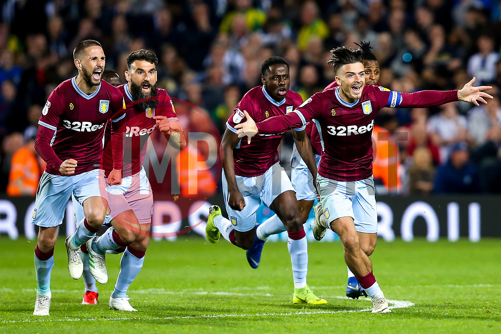 Jack Grealish of Aston Villa leads the celebrations as his side win on penalties against West Bromwich Albion to book their place in the Sky Bet Championship Playoff Final - Mandatory by-line: Robbie Stephenson/JMP - 14/05/2019 - FOOTBALL - The Hawthorns - West Bromwich, England - West Bromwich Albion v Aston Villa - Sky Bet Championship Play-off Semi-Final 2nd Leg