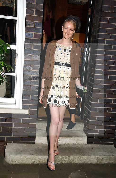JADE PARFITT at a party to celebrate Stephen Jones's 25 Years of Millinery held at Debenham House, 8 Addison Road, London W14 on 13th July 2006.<br />