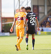 Dundee's Faissal El Bakhtaoui and Motherwell's Richard Tait have a disagreement - Motherwell v Dundee in the Ladbrokes Scottish Premiership at Fir Park, Motherwell. Photo: David Young<br /> <br />  - © David Young - www.davidyoungphoto.co.uk - email: davidyoungphoto@gmail.com