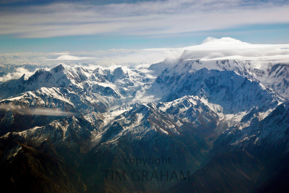 Snow-covered peaks of Karokoram Mountains, Skardu Valley, North Pakistan