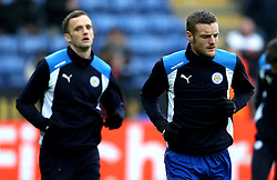 Jamie Vardy of Leicester City and Andy King of Leicester City - Mandatory by-line: Robbie Stephenson/JMP - 05/02/2017 - FOOTBALL - King Power Stadium - Leicester, England - Leicester City v Manchester United - Premier League