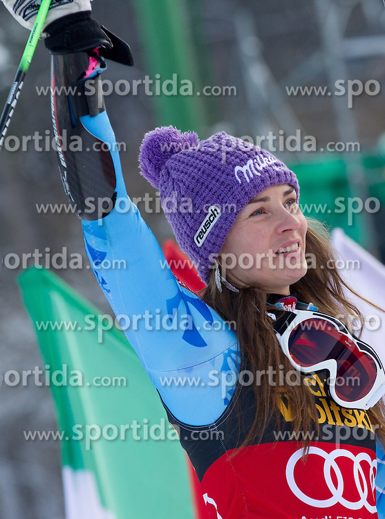 "Second placed MAZE Tina of Slovenia at flower ceremony after the 2nd Run of FIS Alpine Ski World Cup 7th Ladies' Giant Slalom race named ""49th Golden Fox 2013"", on January 26, 2013 in Mariborsko Pohorje, Maribor, Slovenia. (Photo By Vid Ponikvar / Sportida.com)"