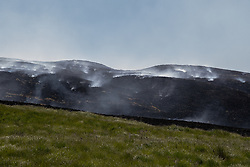 © Licensed to London News Pictures . 03/07/2018. Bolton, UK. Moors continue to burn and smoke. Fire-fighters continue to work to contain large wildfires spreading across Winter Hill as very high temperatures , changing winds and dry peat continue to exacerbate the problem . Photo credit: Joel Goodman/LNP