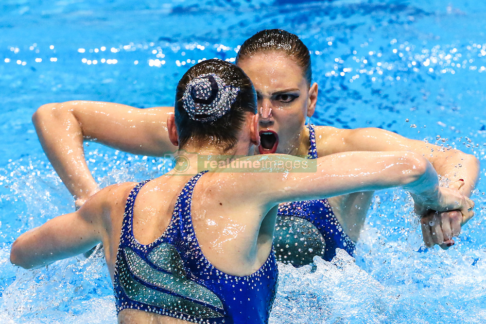 """May 10, 2019 - Saint Petersburg, Russia - The Russia team compete in the Duet Free Preliminary during of the European Artistic """"Synchronised"""" Swimming Champions Cup 2019 on May 10, 2019, in St.Petersburg, Russia  (Credit Image: © Igor Russak/NurPhoto via ZUMA Press)"""
