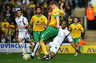 Norwich - Saturday March 27th, 2010:  Michael Nelson of Norwich and Jermaine Beckford of Leeds in action during the Coca Cola League One match at Carrow Road, Norwich. (Pic by Paul Chesterton/Focus Images)