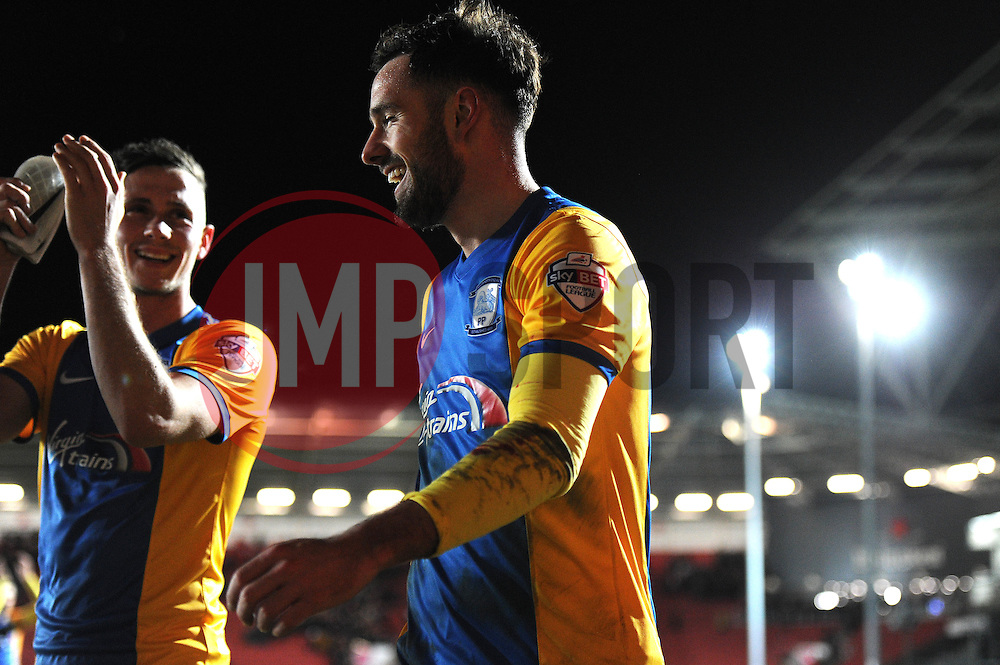 Greg Cunningham of Preston North End smiles after the game as he scores the winning goal against his former team, Bristol City  - Mandatory byline: Dougie Allward/JMP - 12/01/2016 - FOOTBALL - Ashton Gate - Bristol, England - Bristol City v Preston North End - Sky Bet Championship