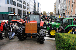 Farmers from a cross Europe gathered in Brussels in.protest of European Union agricultural policy, as a meeting of EU agriculture ministers convened, on Monday, Oct. 5, 2009. (Photo © Jock Fistick)