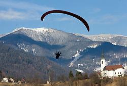 Parachute during FIS Continental Cup Ski Jumping Ladies in Ljubno, on January 23, 2011, at K-85 in Ljubno ob Savinji, Slovenia. (Photo By Vid Ponikvar / Sportida.com)