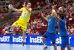10.04.2016, Ergo Arena, Gdansk, POL, IHF Herren, Olympia Qualifikation, Chile vs Mazedonien, im Bild Naumche Mojsovski, Victor Donoso, Rodrigo Salinas // during the IHF men's Olympic Games handball qualifier between Chile and Macedonia at the Ergo Arena in Gdansk, Poland on 2016/04/10. EXPA Pictures © 2016, PhotoCredit: EXPA/ Newspix/ Tomasz Zasinski<br /> <br /> *****ATTENTION - for AUT, SLO, CRO, SRB, BIH, MAZ, TUR, SUI, SWE only*****