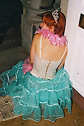 Woman wearing a bustier, tiara, pink feather boa and a toule skirt, Posh at Addington Palace, UK, August, 2004