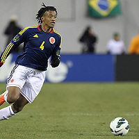 Colombia Midfielder Juan Guillermo Cuadrado (Fiorentina-Italy) (4) during the Brazil vs Colombia friendly soccer match at MetLife Stadium in East Rutherford, NJ. Columbia and Brazil tied 1-1.