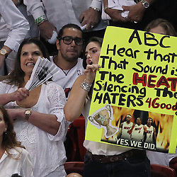 Jun 21, 2012; Miami, FL, USA; Miami Heat fans cheer during the third quarter in game five in the 2012 NBA Finals at the American Airlines Arena. Mandatory Credit: Derick E. Hingle-US PRESSWIRE