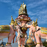 Pink Elephant Statue Outside of Grand Palace in Bangkok, Thailand <br />