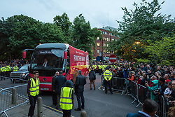 © Licensed to London News Pictures. 07/06/2017. London, UK. The Labour Party bus arrives at Union Chapel where hundreds of supporters await the arrival of Jeremy Corbyn. He will speak hold his last rally at Union Chapel before Britain heads to the polls for the General Election. Photo credit: Rob Pinney/LNP