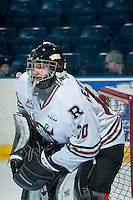 KELOWNA, CANADA - FEBRUARY 16: Dawson Weatherill #30 of Red Deer Rebels warms up against the Kelowna Rockets  in his first WHL game on February 16, 2016 at Prospera Place in Kelowna, British Columbia, Canada.  (Photo by Marissa Baecker/Shoot the Breeze)  *** Local Caption *** Dawson Weatherill;