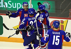 Slovakia celebrate a first goal at ice-hockey match Slovakia vs Norway at Preliminary Round (group C) of IIHF WC 2008 in Halifax, on May 03, 2008 in Metro Center, Halifax, Canada. (Photo by Vid Ponikvar / Sportal Images)