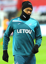 Jordan Ayew of Swansea City warms up - Mandatory by-line: Nizaam Jones/JMP - 27/02/2018 - FOOTBALL - Liberty Stadium - Swansea, Wales-Swansea City v Sheffield Wednesday - Emirates FA Cup fifth round proper