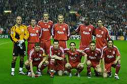 Liverpool, England - Wednesday, October 3, 2007: Liverpool players line-up to face Olympique de Marseille during the UEFA Champions League Group A match at Anfield. Back-row L-R: goalkeeper Jose Pepe Reina, Jamie Carragher, Peter Crouch, Fernando Torres, Momo Sissoko, Fernando Torres. Front row L-R: Steven Gerrard MBE, Steve Finnan, Yossi Benayoun, Fabio Aurelio, Sebastian Leto.  (Photo by David Rawcliffe/Propaganda)