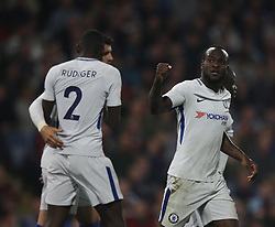 Victor Moses of Chelsea (R) celebrates scoring his sides second goal - Mandatory by-line: Jack Phillips/JMP - 19/04/2018 - FOOTBALL - Turf Moor - Burnley, England - Burnley v Chelsea - English Premier League