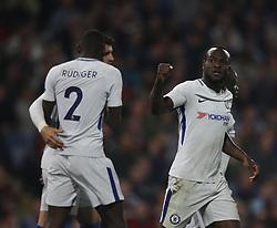Victor Moses of Chelsea (R) celebrates scoring his sides second goal - Mandatory by-line: Jack Phillips/JMP - 19/04/2018 - FOOTBALL - Turf Moor - Burnley, England - Burnley v Chelsea - English Premier League