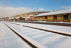 """Snowy Truckee Train Tracks 3"" - Photograph of fresh snow on train tracks in Downtown Truckee, California."