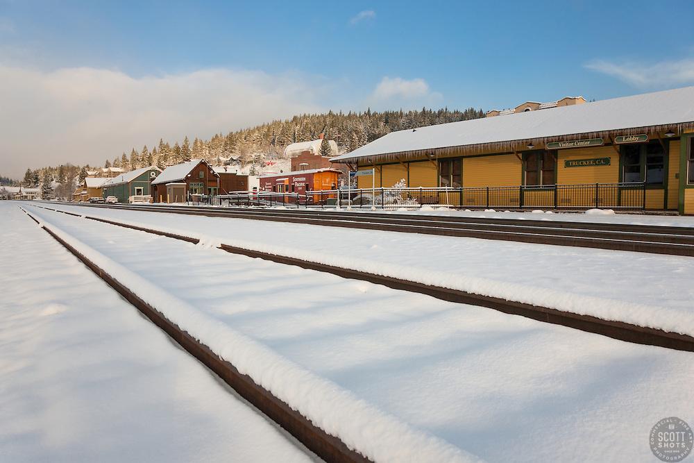 """Snowy Truckee Train Tracks 3"" - Photograph of fresh snow on train tracks in Downtown Truckee, California."