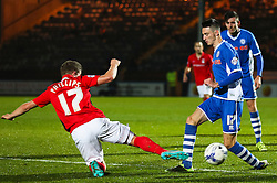Scott Tanser of Rochdale is tackled by Aaron Phillips of Coventry City - Mandatory byline: Matt McNulty/JMP - 07966 386802 - 20/10/2015 - FOOTBALL - Gigg Lane - Rochdale, England - Rochdale v Coventry - Sky Bet League One