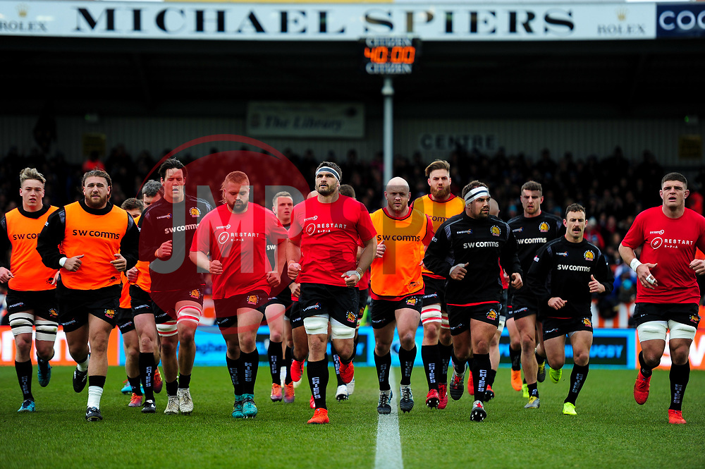 A general view of   as Exeter Chiefs head for the changing rooms - Mandatory by-line: Ryan Hiscott/JMP - 14/04/2019 - RUGBY - Sandy Park - Exeter, England - Exeter Chiefs v Wasps - Gallagher Premiership Rugby