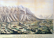 View of the Battle of Buena Vista' 1847 coloured lithograph based on drawing made on the spot by General Taylor's aide-de-camp.  The Battle of Buena Vista, also called the Battle of Angostura, 23 February 1847.  Mexican's under General Santa Anna defeated by Americans under General Sachary Taylor.